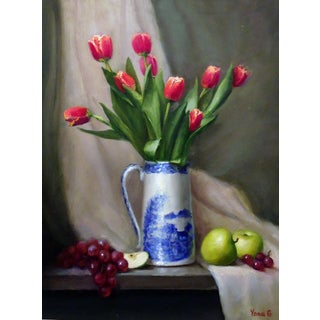 Contemporary Still Life With Tulips, Apples and Grapes. For Sale
