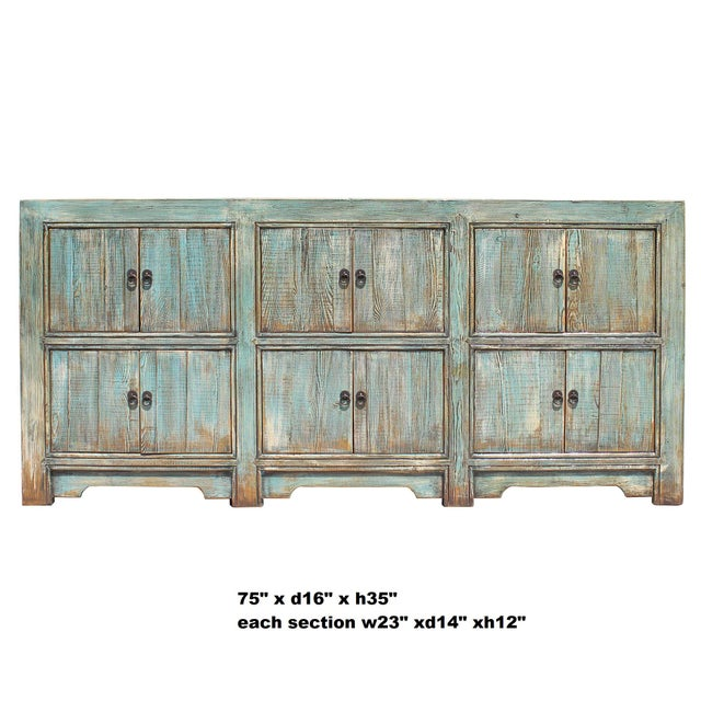 Asian Distressed Rustic Chalk Pastel Blue Sideboard Buffet Table Cabinet For Sale - Image 3 of 8