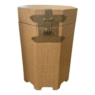 Octoganal Natural Seagrass Wrapped Small Drinks Table For Sale