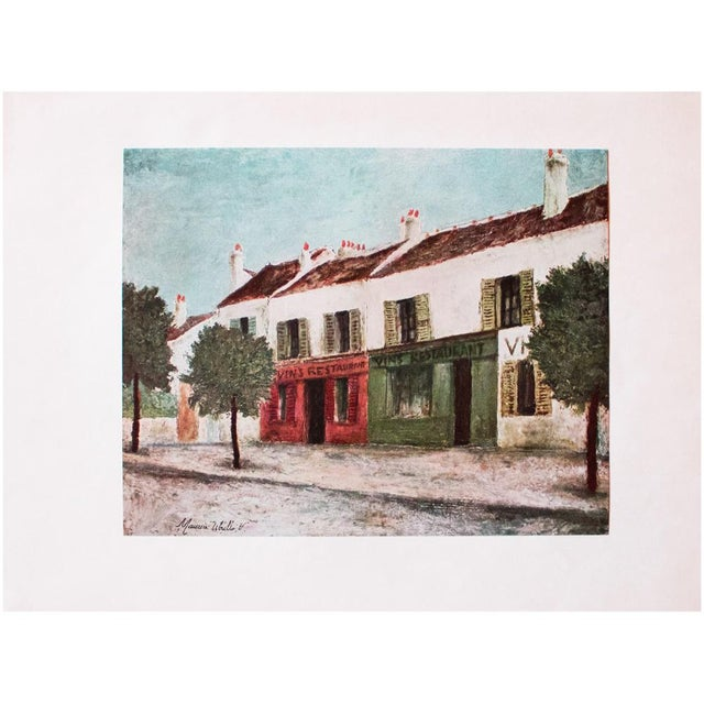 """Turquoise 1950s Maurice Utrillo, """"Bistros in a Suburb"""" First Edition Lithograph For Sale - Image 8 of 8"""