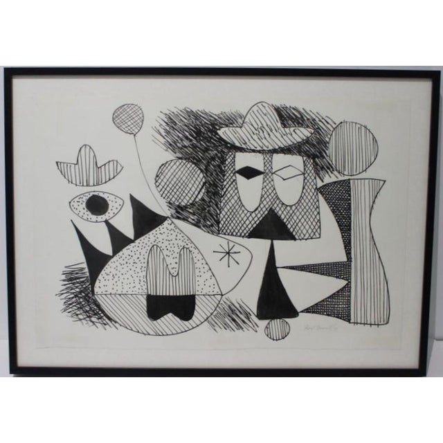 Mid-Century Modern 1970 Pen-Ink Abstract Painting by Listed Artist Rene Marcel Gruslin For Sale - Image 9 of 12