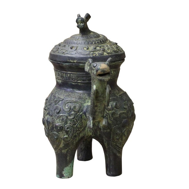 Chinese Oriental Green Bronze-Ware Display Decor For Sale - Image 5 of 6