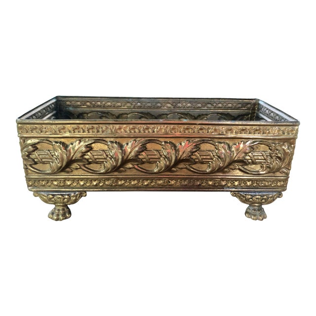 1940s Vintage Brass Repousse Embossed Rectangular Planter For Sale
