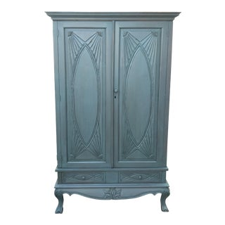 Solid Blue Wood Painted Armoire