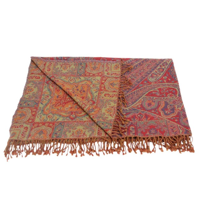 Boho Chic Rangoli Patterned Jammu Throw For Sale - Image 3 of 4