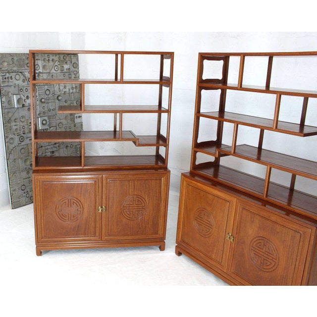 1990s Asian Solid Teak Étagère/Double Carved Door Cabinets - a Pair For Sale - Image 12 of 14