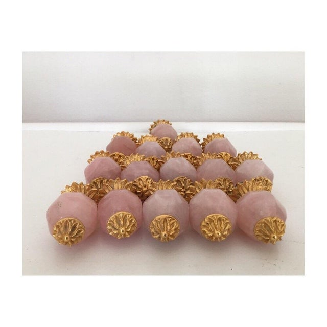 Offered is a set of 15 Sherle Wagner rose quartz pineapple cabinet and drawer pulls. Perfect for kitchen or bathroom...