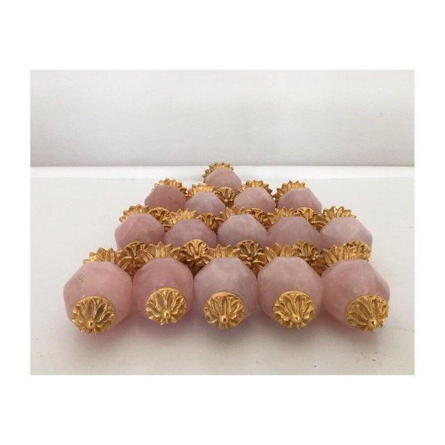 Sherle Wagner Pink Quartz & Gold Drawer Pulls - S/15 - Image 2 of 6