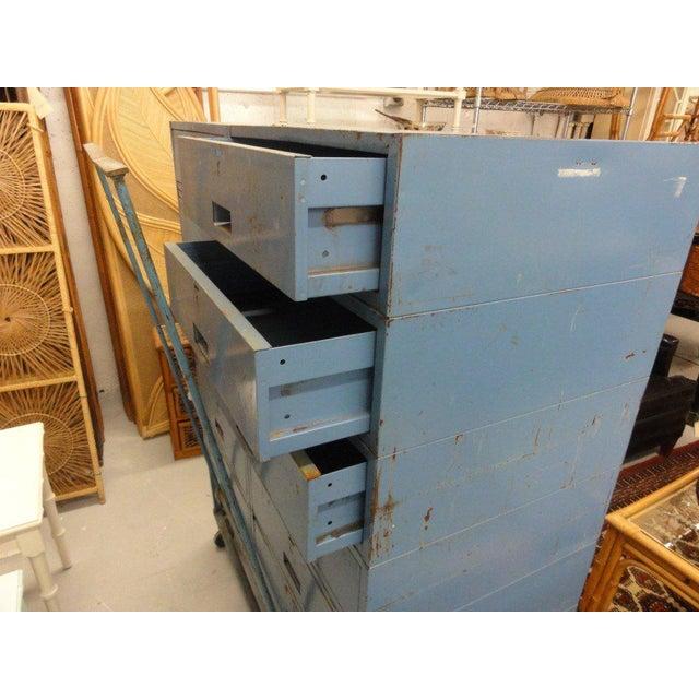 Vintage Blue Industrial Metal Cabinet - Image 4 of 11