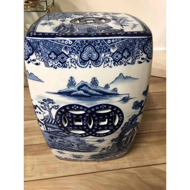 1980s Chinoiserie Blue & White Pagoda Garden Stool For Sale - Image 4 of 9
