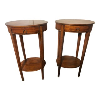 19th Century Louis XVI Style Satinwood Inlaid Oval Side Tables - a Pair For Sale