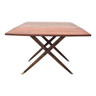 Mid Century Italian Style Dropside Dining Table of Walnut For Sale