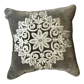 Gray Velvet Celerie Kimball Embroidered Pillow