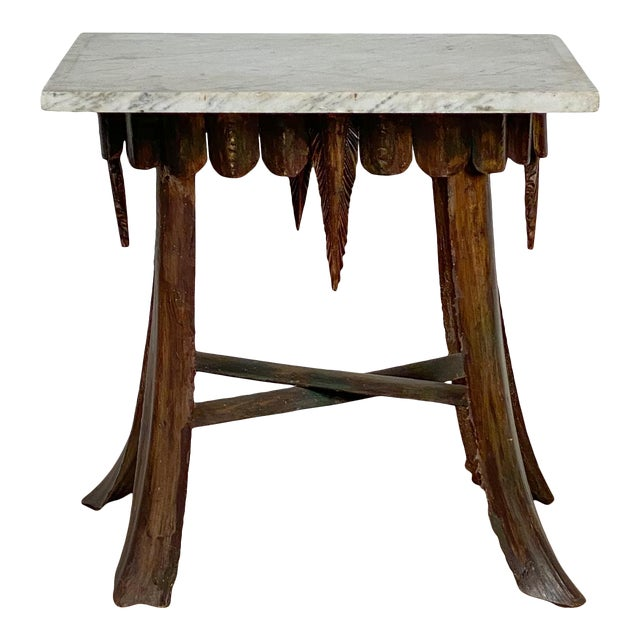 Mid Century Palm Leaf Table With Antique Marble Top, Hawaii For Sale