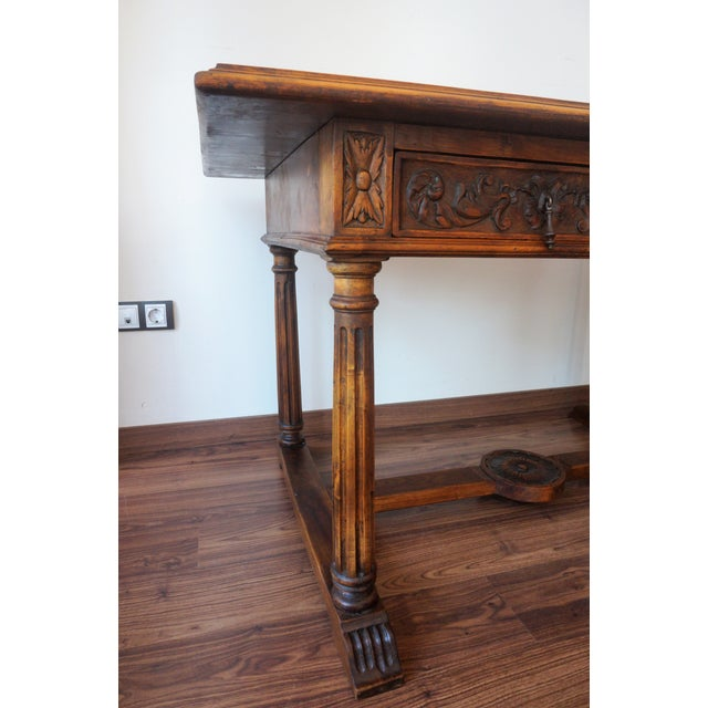 19th Spanish Refectory Table with Two Drawers, Desk Table - Image 7 of 9