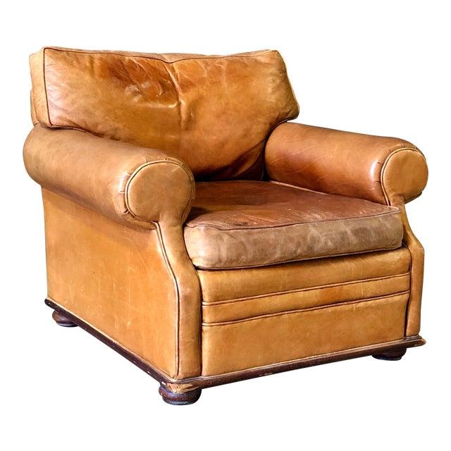 Vintage Ralph Lauren Camel Leather Chair For Sale
