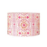 Image of John Robshaw Pink and Orange Block Print Fabric Drum Lampshade For Sale
