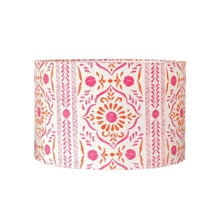 John Robshaw Pink and Orange Block Print Fabric Drum Lampshade For Sale