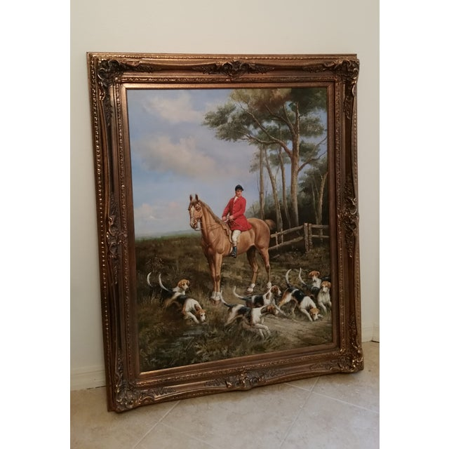 """""""Huntsman With Hounds"""", Framed Oil Painting - Image 2 of 4"""
