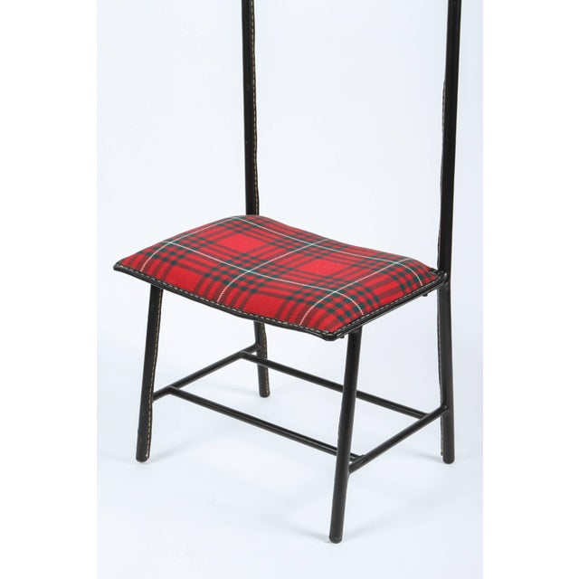 Jacques Adnet Jacques Adnet Leather Wrapped Valet With Original Tartan Plaid Wool Upholstery For Sale - Image 4 of 10