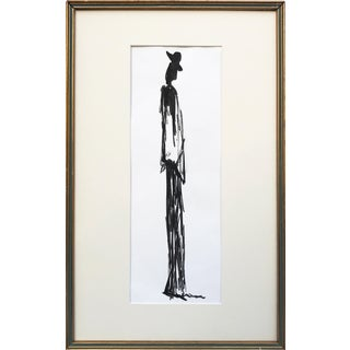 Vintage Mid Century Modern Abstract Figural Pen & Ink Drawing For Sale
