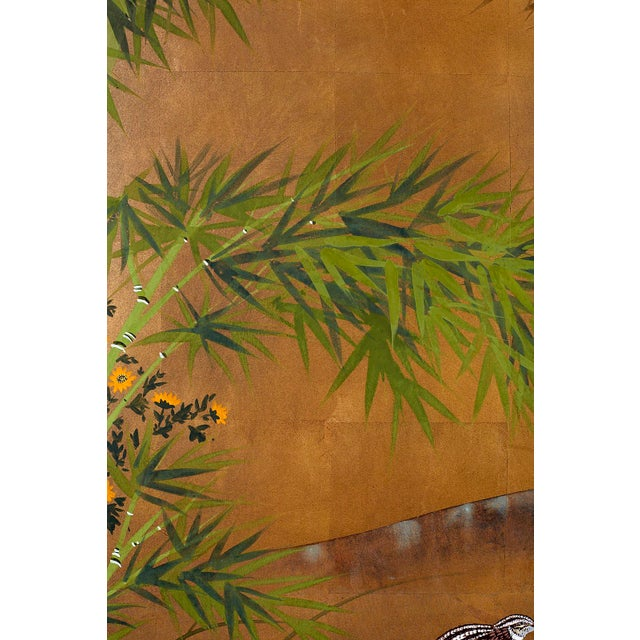 Japanese Four Panel Screen Quail in Flower Bamboo Landscape For Sale - Image 9 of 13