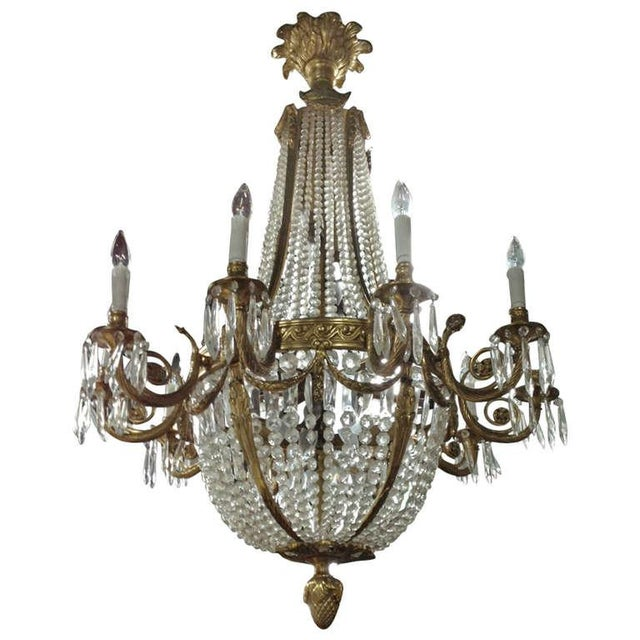 Mid 19th Century Large French Louis XVI Style Bronze and Crystal Chandelier For Sale - Image 5 of 5