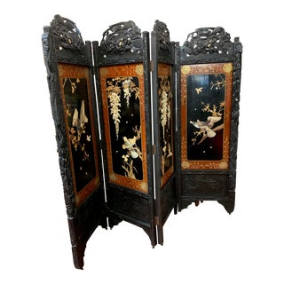 1920s Asian Four Panel Screen With Carved Hard Stones, Mother of Pearl, and Carved Wood Dragons For Sale
