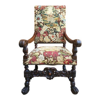 Late 19th Century Antique French Oak Louis XIV Barley Twist Renaissance Tapestry Throne Arm Chair For Sale