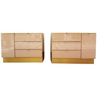 Glass & Brass Opposing Nightstands by Ello - A Pair