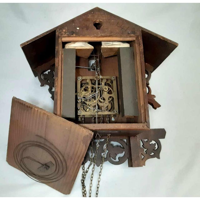 Early 20th Century Black Forest Carved Cuckoo Clock For Sale - Image 4 of 11