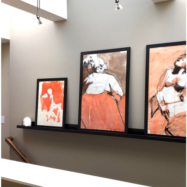 """Orange Contemporary Figure Drawing in Orange and Black, """"Queen Gloria"""" by David O. Smith For Sale - Image 8 of 12"""