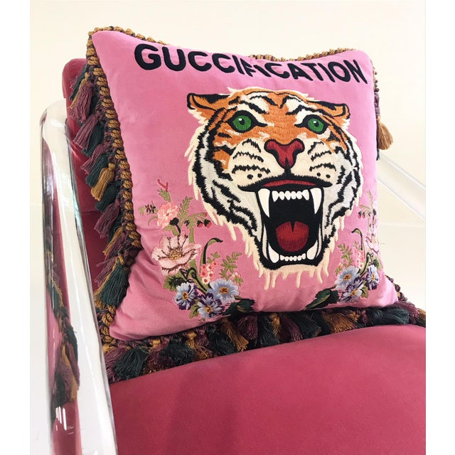 Pink Vintage Lion in Frost Lucite Chairs Restored in Loro Piana Pink Velvet With Gucci Pillows - Pair For Sale - Image 8 of 11