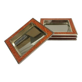 Hans Turnwald Modern Leather Embossed Coasters - Set of 4 For Sale