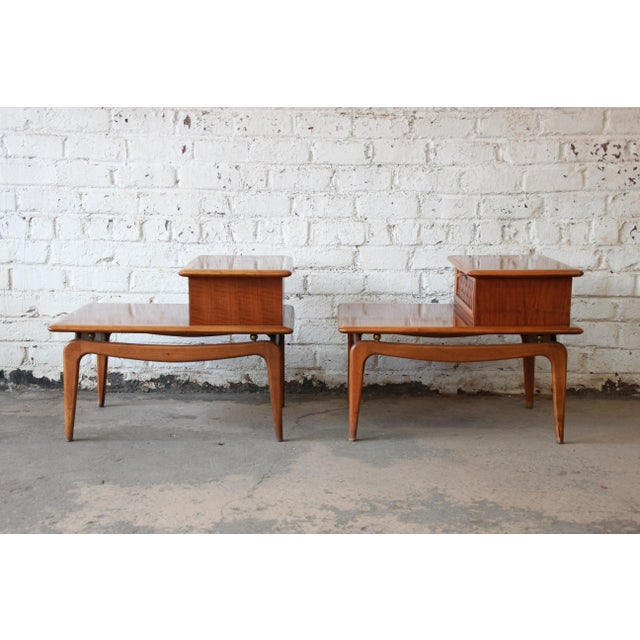 Mid-Century Lane Step End Tables - a Pair - Image 6 of 10