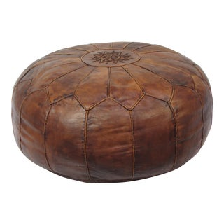 Large Vintage Brown Camel Leather Moroccan Pouf Ottoman Mid-Century