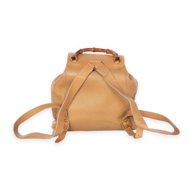 9902186ed52123 Gucci Gucci Vintage Leather and Bamboo Handle Backpack For Sale - Image 4  of 8