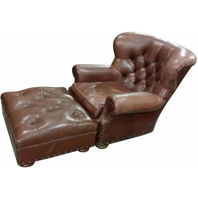 Vintage Ralph Lauren Leather Chair with Ottoman For Sale