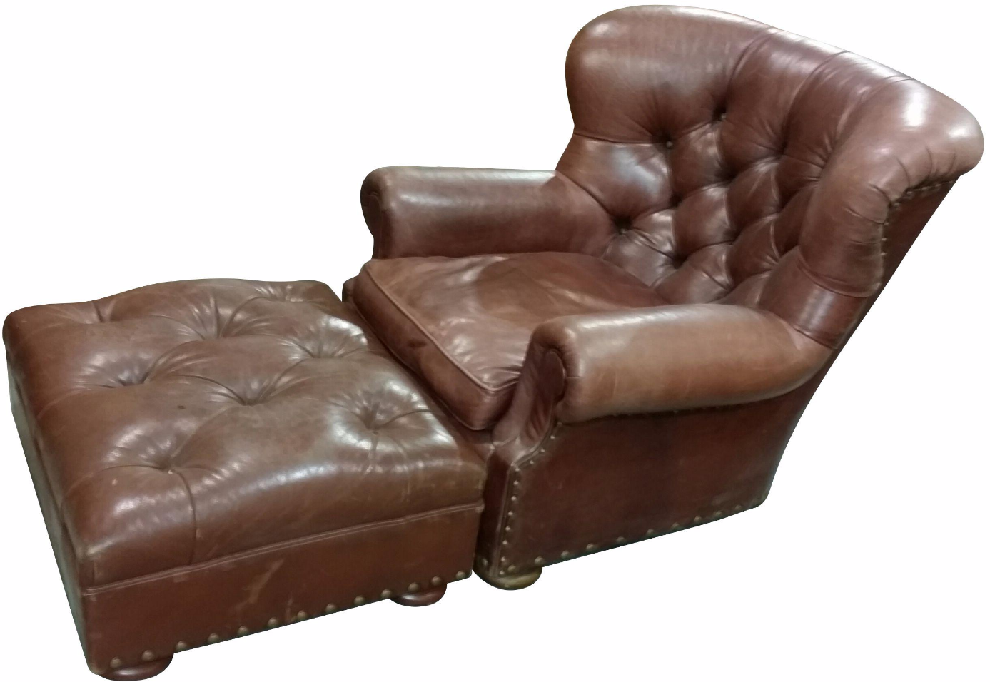 Vintage Ralph Lauren Leather Chair With Ottoman