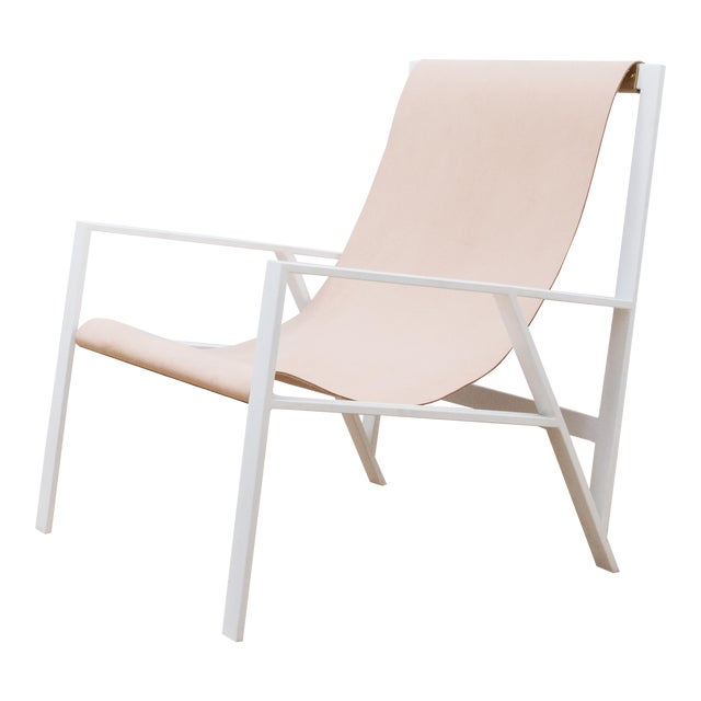 Hampton Light Lounge Chair - White Frame, Natural Leather For Sale