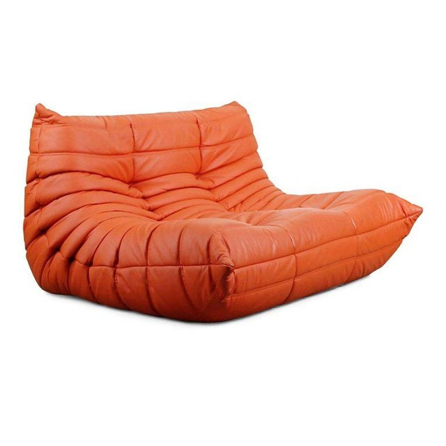 Contemporary Togo Loveseat in Orange Leather by Michel Ducaroy for Ligne Roset, France For Sale - Image 3 of 13
