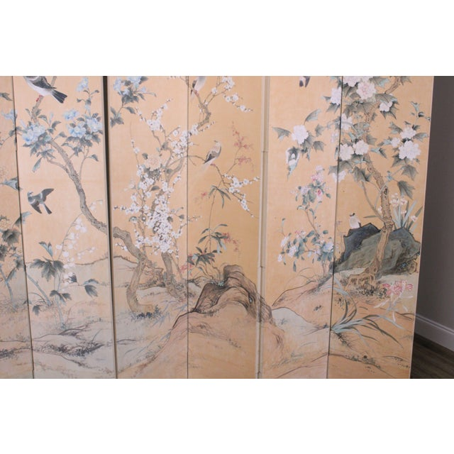 Monumental Oriental 2 Piece 8 Panel Hand Painted Folding Screen Room Divider For Sale - Image 10 of 13