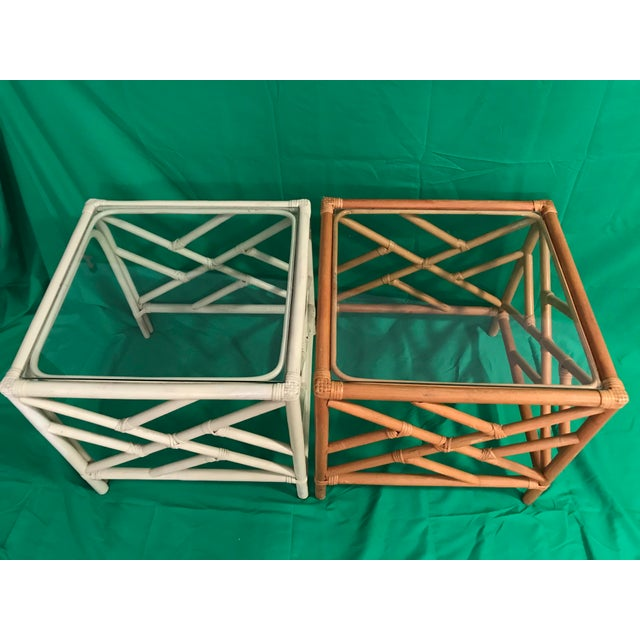 Mid 20th Century 20th Century Chinese Chippendale Rattan Side Tables With Clear Glass Top - a Pair For Sale - Image 5 of 8