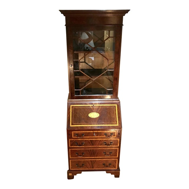 20th Century English Inlaid Desk Secretary With Bookcase For Sale