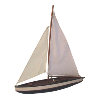 Mid-Century Navy Blue & Cream Model Wood Sailboat For Sale