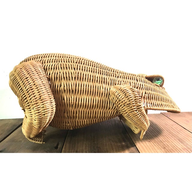 Wicker 1970s Mid Century Wicker Frog Basket With Glass Marble Eyes For Sale - Image 7 of 9