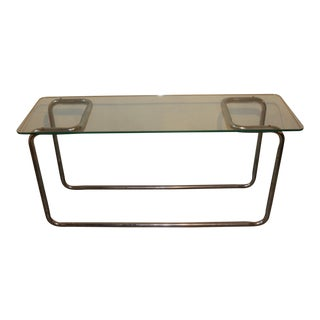 1960s Mid Century Modern Glass Chrome Console Table For Sale