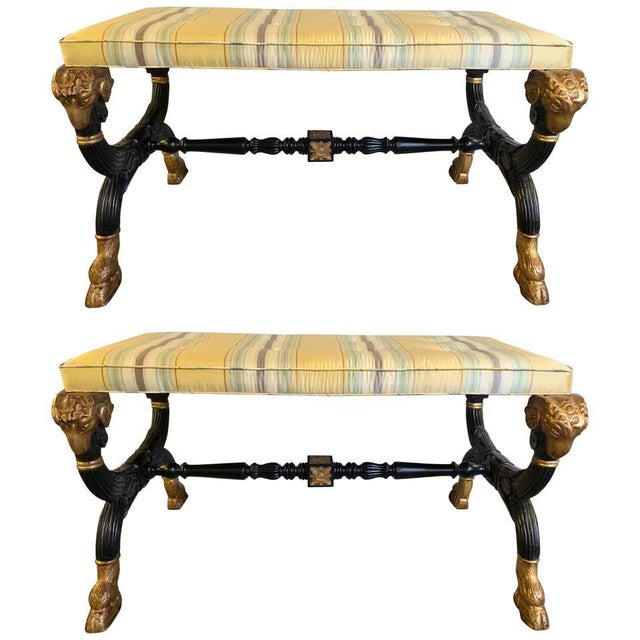Ebonized & Gilt Benches Having Mantra Silk Scalamandre Upholstery - a Pair For Sale - Image 13 of 13