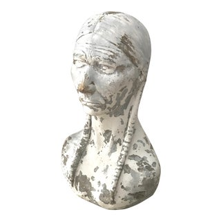 Vintage Native American Indian Bust Statue For Sale