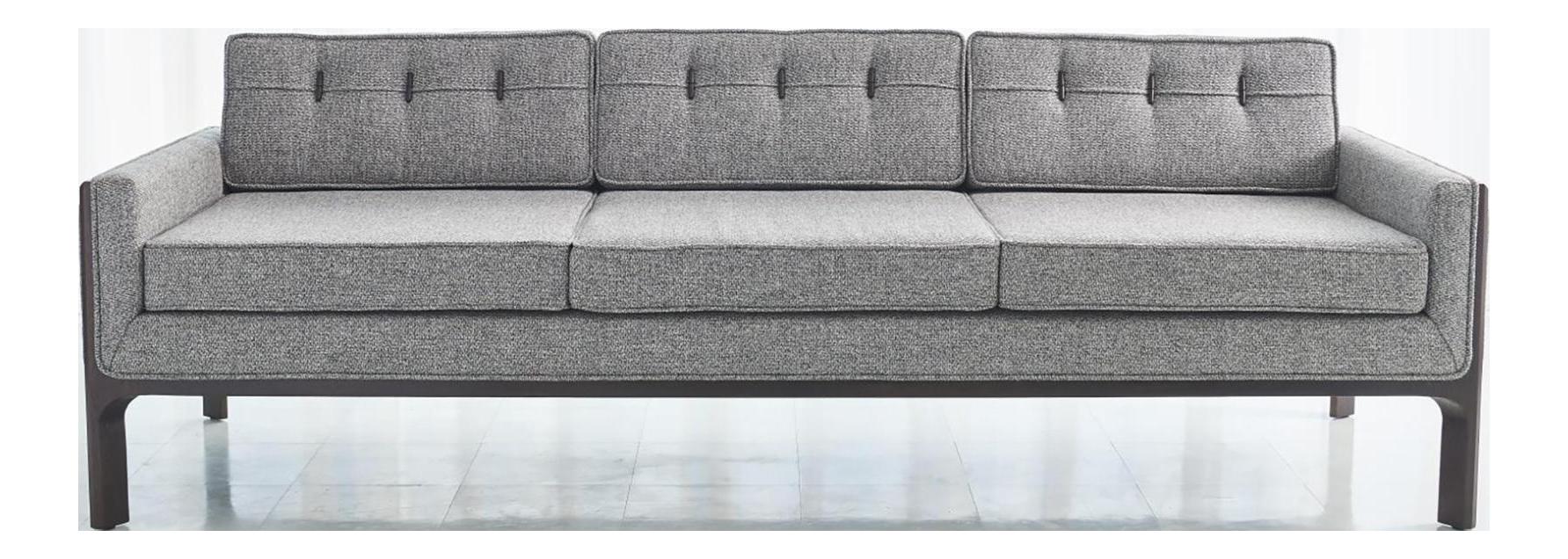 Global Views Mid Century Modern Style Gray Bevel Sofa